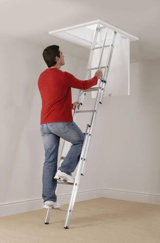 Abru arrow aluminium 3 section loft ladder no handrail - Escaliers escamotables castorama ...