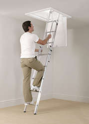Abru Werner Arrow Aluminium 3 Section Loft Ladder With Handrail 76003